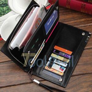 Men-039-s-Leather-Bifold-ID-Card-Holder-Long-Wallet-Purse-Checkbook-Clutch-Billfold
