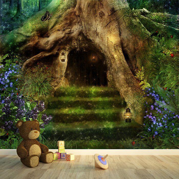 Magisches Baumhaus Fototapete Mrchenwald Tapete Mdchen Wohnkultur