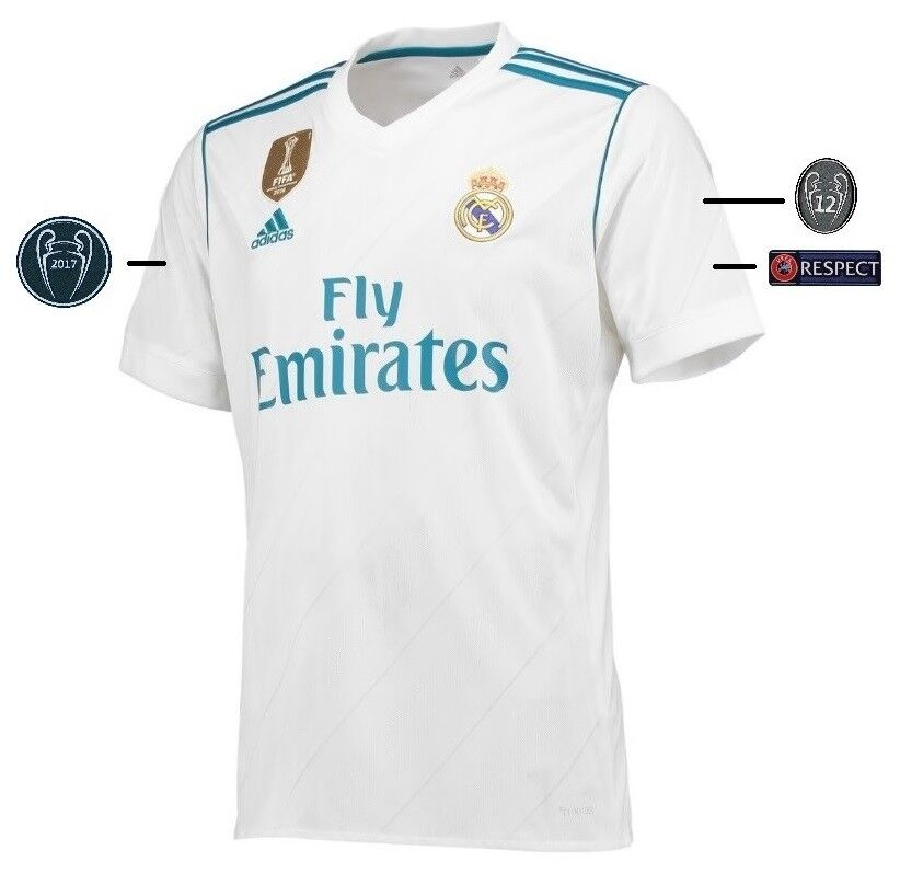 Trikot Adidas Real Real Real Madrid 2017-2018 Home UCL  Champions League Badge 90cc4c