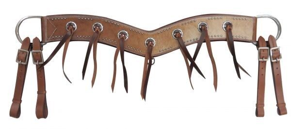 Showman Tripping Breast Collar w  Genuine Cowhide & Leather Tassel Conchos  NEW