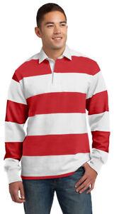 210034e47f4 Sport-Tek Men's Classic Long Sleeve 100% Cotton Rugby Polo Stripe ...
