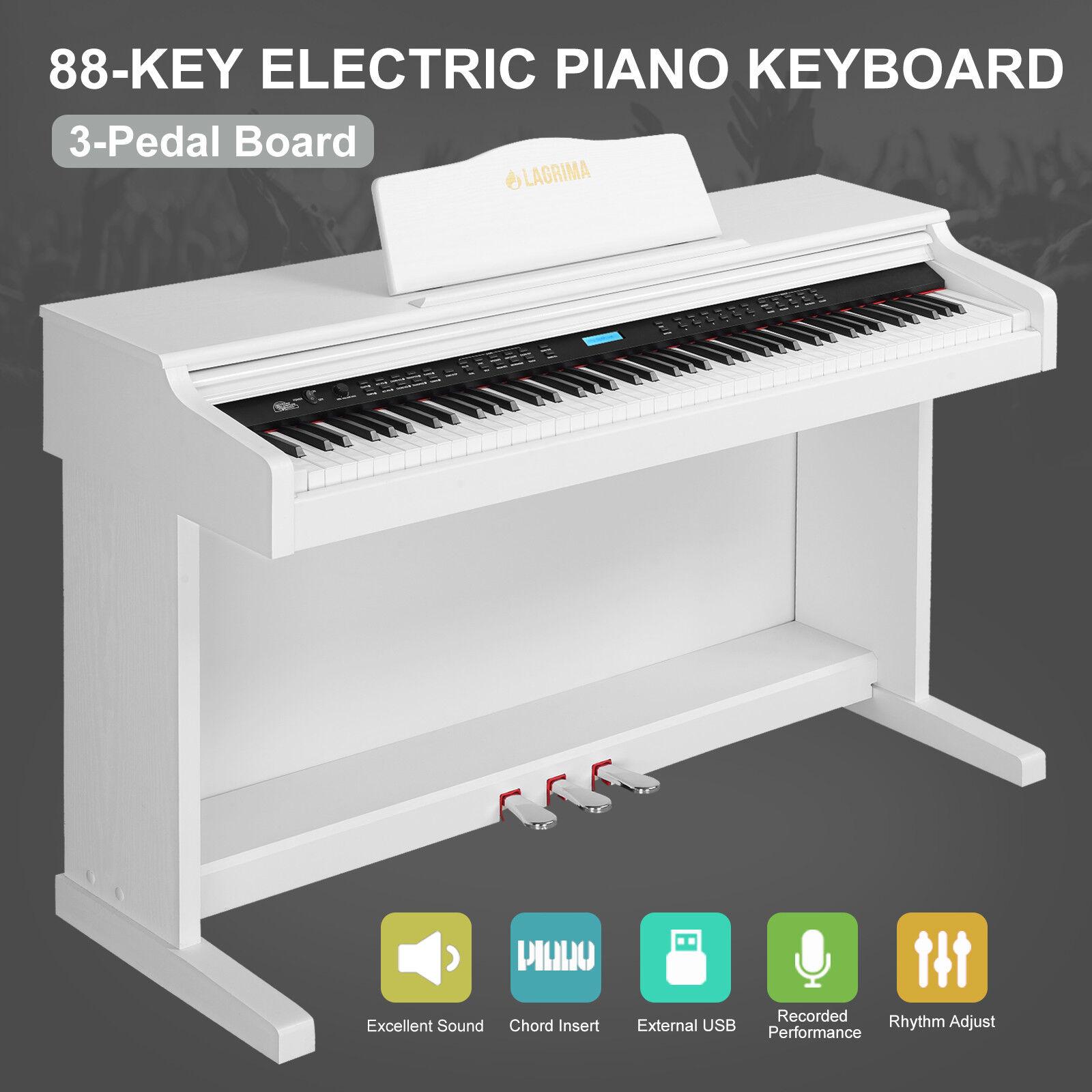 E-600 Digital Piano 88 Tasten LCD Keyboard 3 Pedale USB MIDI Weiß Klavier