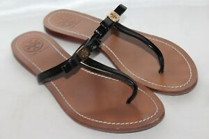 5013d12cab5 TORY BURCH Black Patent Leather Bow T Strap Flat LEIGHANNE Thong ...