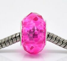 Hot Pink Fuchsia Faceted Crystal Glass Bead fits Silver European Charm Bracelets