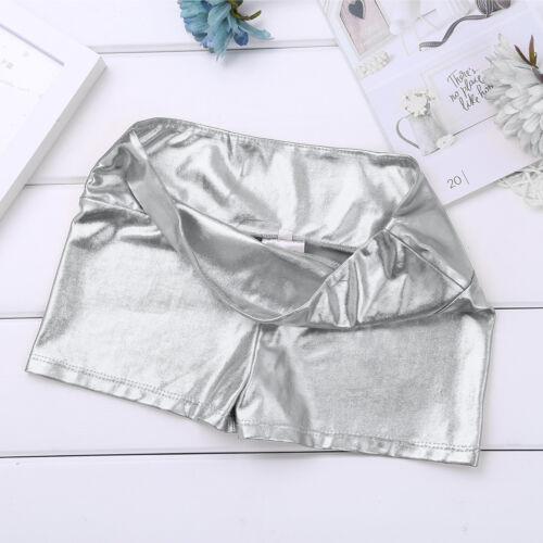 Kid Girls Dance Shorts Metallic Shiny Gymnastics Gym Bottoms Hot Pants Dancewear