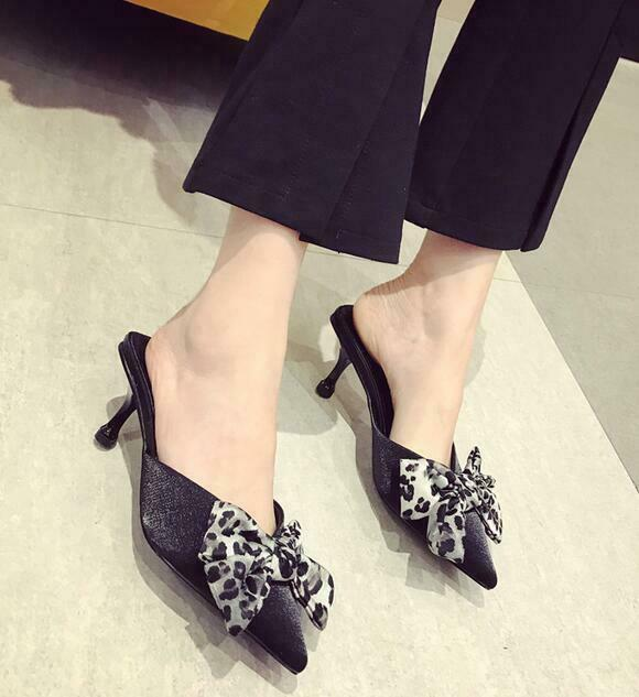 Womens Slippers shoes Bowknot Pointy Toe Shallow Stilettos Leopard Slip on Vogue