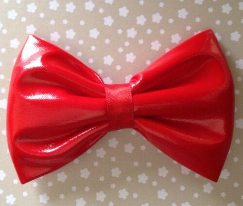"HANDMADE SMALL 3/"" PLAIN RED SHINY WET LOOK PVC FABRIC BOW HAIR CLIP GOTH PUNK"