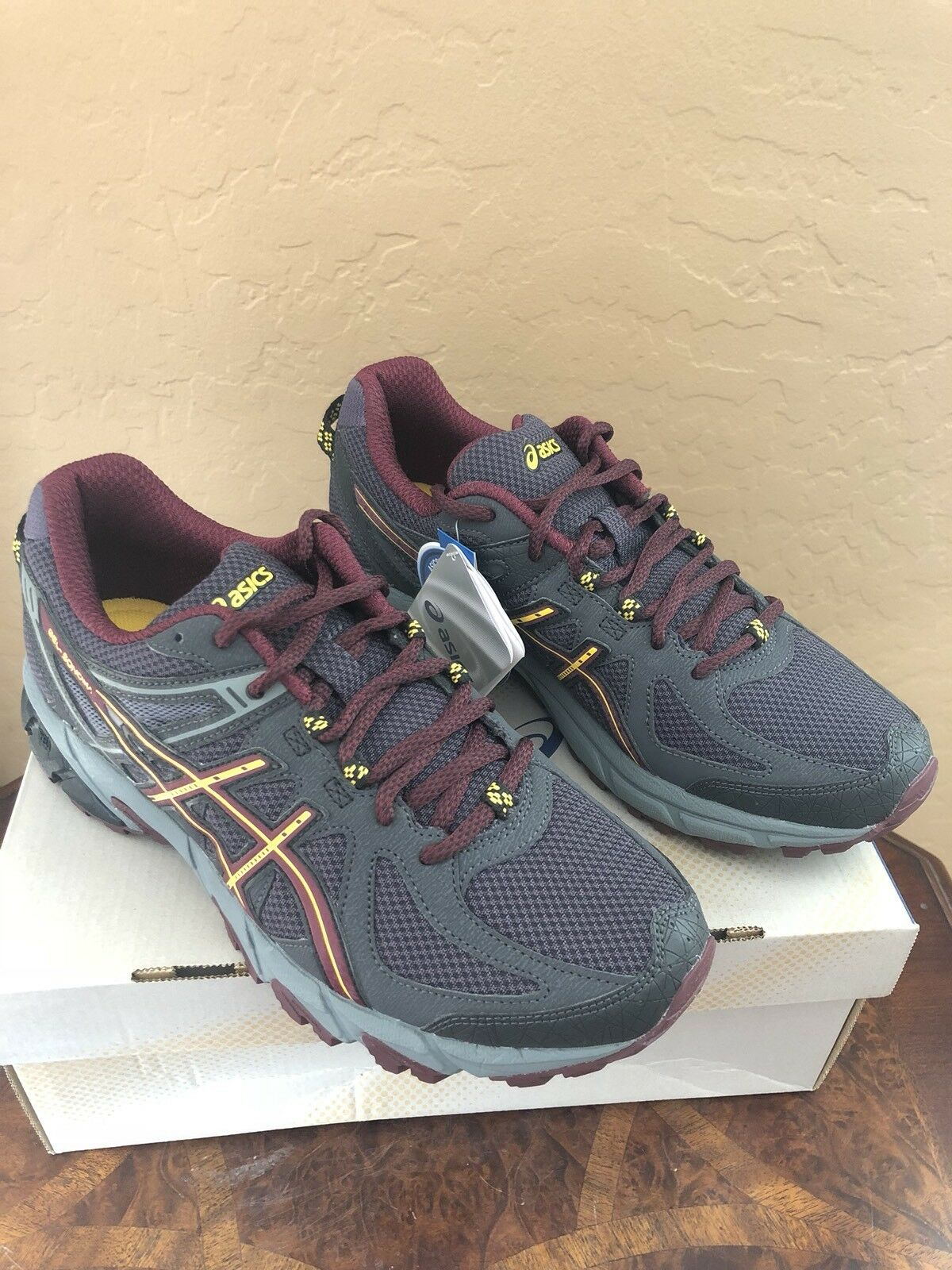 NWT ASICS MENS 7 1/2 YELLOW GEL-SONOMA BLACK/ROYAL BURGUNDY/SPECTRA YELLOW 1/2 T4F2N 9029 08d8a8