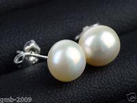9-10mm Natural White Akoya Freshwater Pearl 925 Sterling Silver Stud Earrings