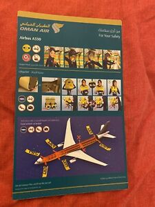 Oman Airlines Airbus A330 Safety Card  RARE
