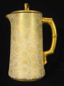 Antique-Royal-Worcester-Hand-Painted-Gilt-Japonaiserie-Chocolate-Pot-Pitcher