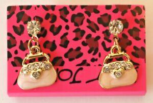 Betsey-Johnson-Crystal-Rhinestone-Enamel-Handbag-Post-Earrings