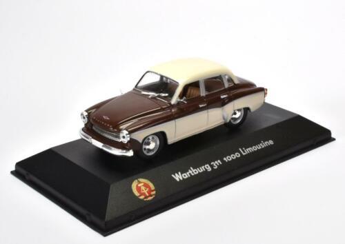 Wartburg 311 1000 sedán modelo terminado en vitrina display en escala 1:43