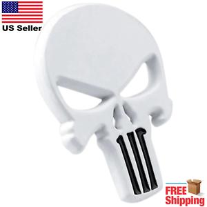 3D-Metal-Punisher-Emblem-Sticker-Skeleton-Skull-Decal-Badge-Motorcycle-WHITE