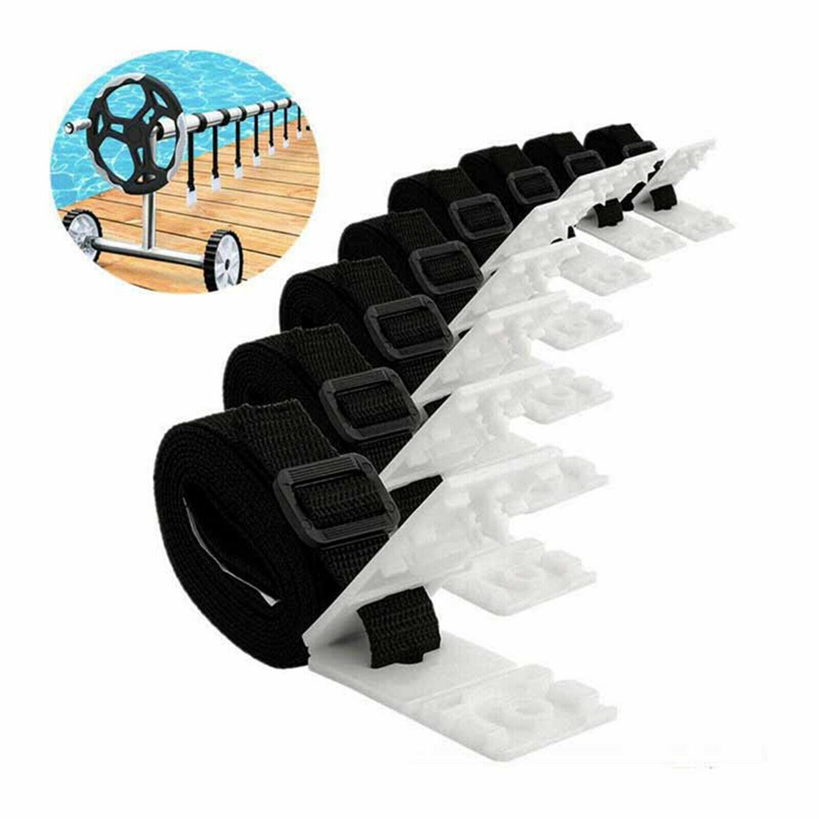 Pool Cover Roller Attachment Straps Kit Connect Solar Cover to Solar Reel