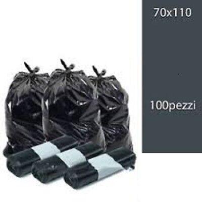 100 Sacchi Differenziata Buste Immondizia 70x110 cm NERE Spazzatura