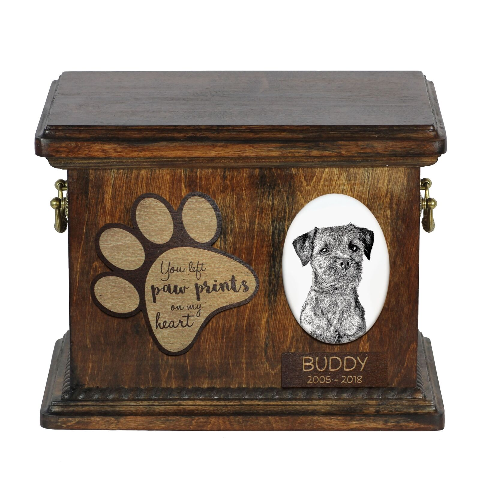 Border Terrier - Urn for dog's ashes with ceramic plate and description, Art Dog