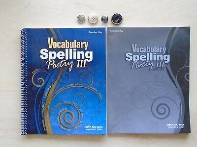 A Beka Book Language Vocabulary Spelling Poetry III teacher homeschooling lot of