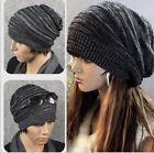 Women Men Warm Winter Baggy Beanie Knit Crochet Oversized Hat Slouch Cap tan