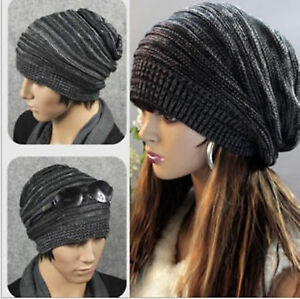 90f6dd1b64a Unisex Womens Mens Winter Warm Knit Baggy Beanie Hats Oversized Ski ...