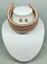 Multi Rose Gold 5 Row Layer Metallic Wide Necklace Stacked Coil Choker Collar