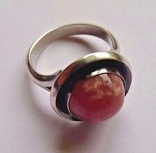 Vintage Modernist Ring Rose Quartz Steling Silver Denmark N E From Signed
