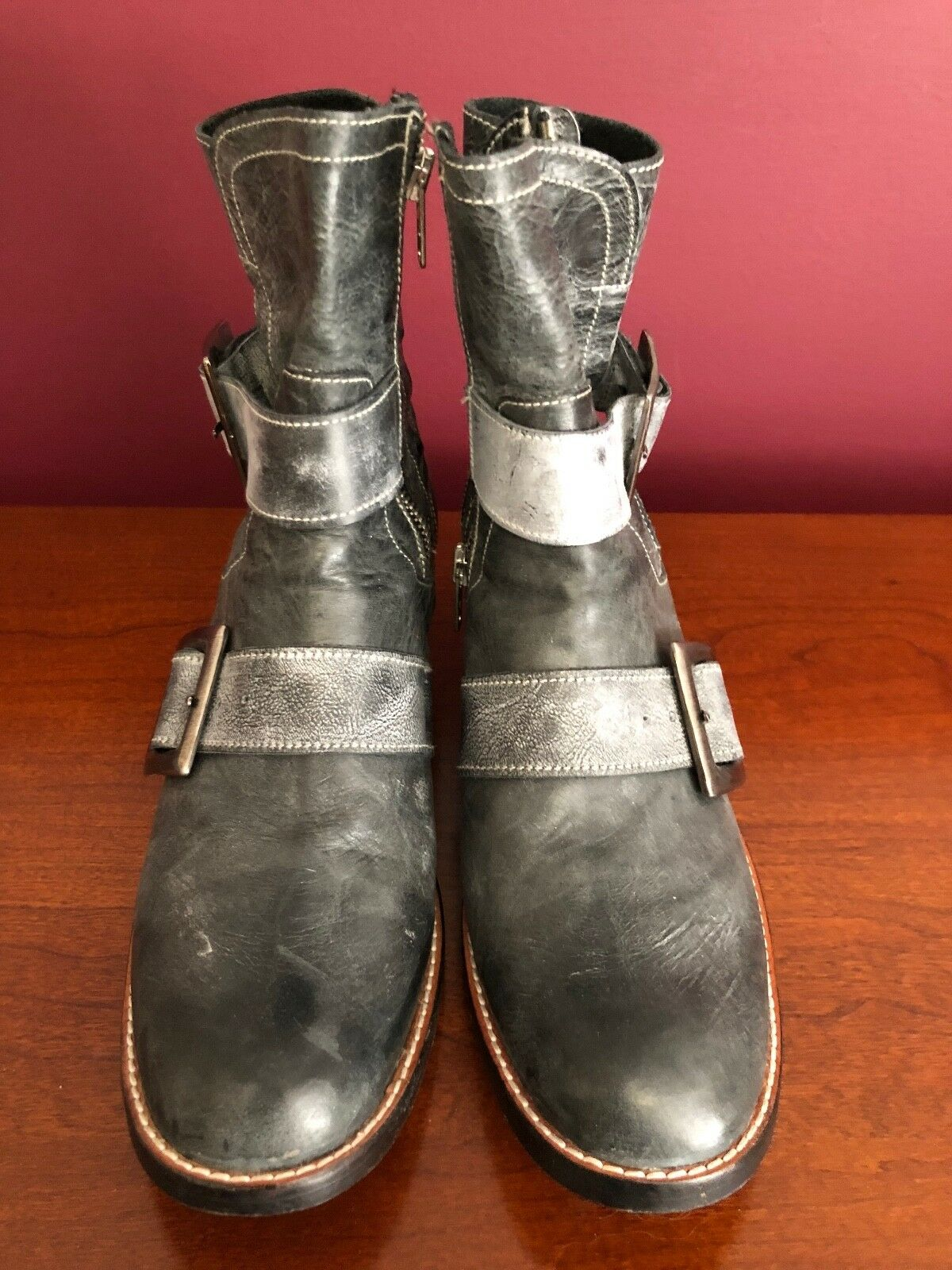 CORDANI calzature GREY Size 36.5 6US Leather Leather Leather Buckle Moto Style Boots d4759c