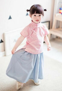 8d27815a81a2 Image is loading Kid-Girl-Chinese-Asian-Traditional-QIPAO-Costume-Han-