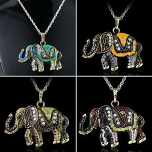 Crystal elephant animal pendant necklace long chain jewelry image is loading crystal elephant animal pendant necklace long chain jewelry mozeypictures Images
