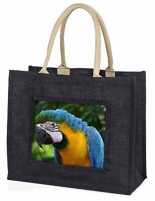 blau gold ARA PAPAGEI Große schwarze Einkaufstasche Weihnachtsgeschenk