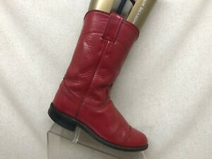 Justin-Red-Leather-Cowboy-Western-Roper-Boots-Youth-Size-5-5-D-Style-3035Y