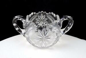 ABP-BRILLIANT-CUT-CRYSTAL-ETCHED-FLOWERS-AND-FERN-DOUBLE-HANDLED-3-034-SUGAR-BOWL