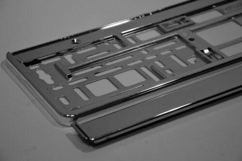 2 x Kennzeichenhalter in Chrom Optik Kennzeichenrahmen  Halter Neu Exclusiv