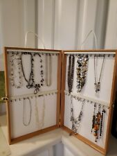Hand Made Wood Jewelry Display Case Holds 52 Necklaces Bracelets
