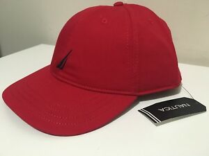 NAUTICA MEN S CAP HAT ONE SIZE FITS ALL DECK RED NAUTICA LOGO ... e3fc1a84052