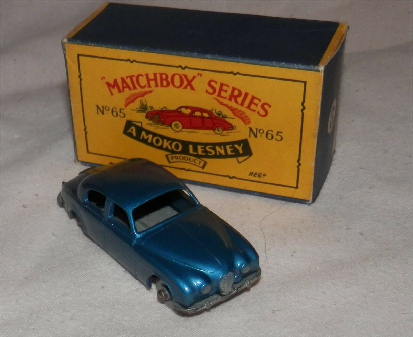 DARK METALLIC blueE.1960s.Matchbox Lesney.65 Jaguar 3.4.GPW.MINT IN BOX.ORIGINAL