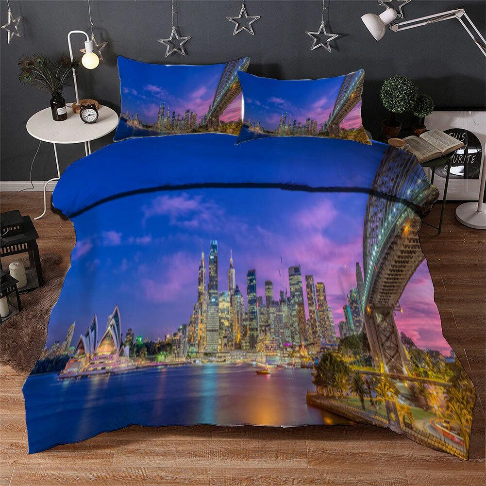 Bright Star Bridge 3D Quilt Duvet Doona Cover Set Single Double Queen King Print