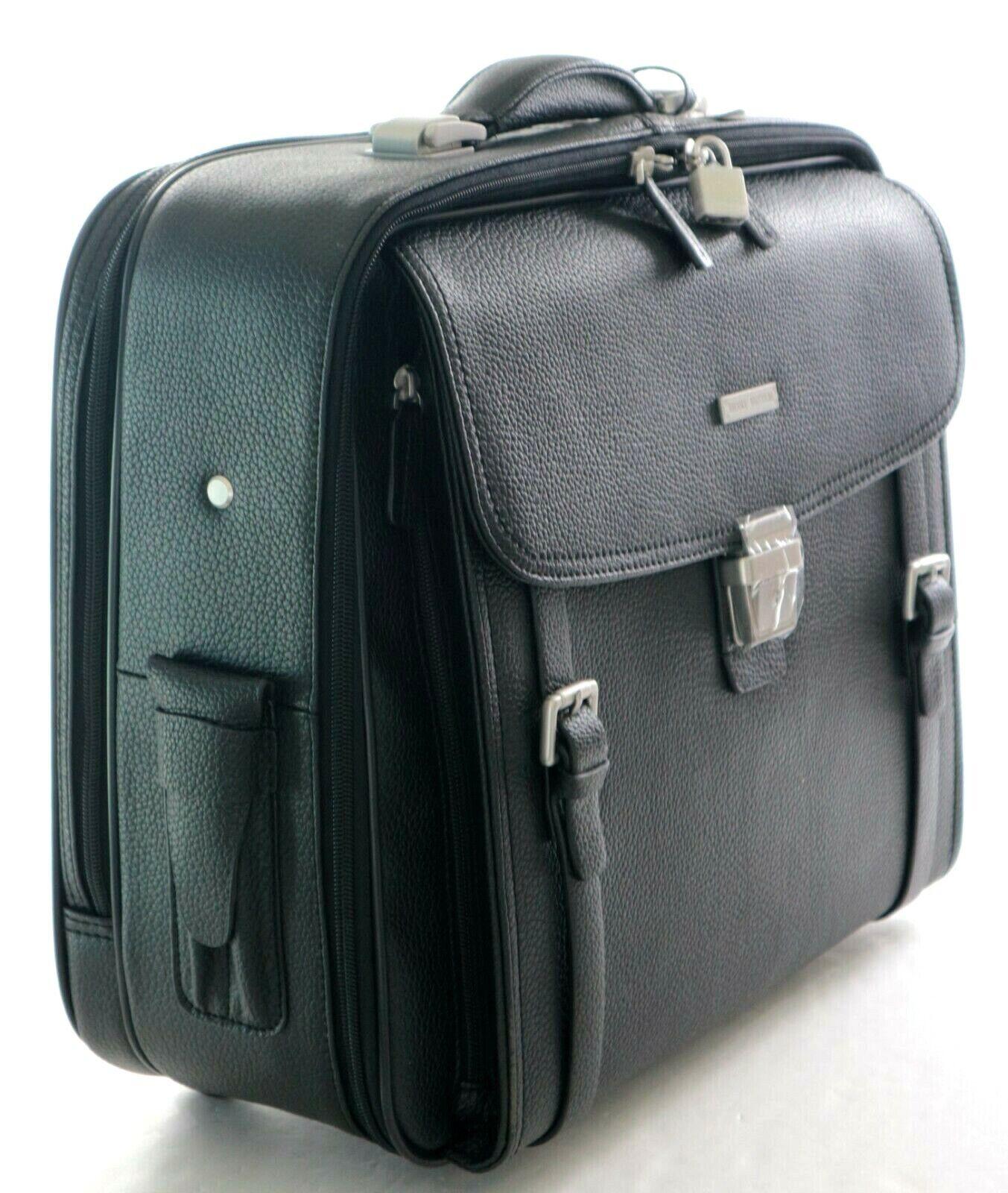 Brooks Brothers Genuine Leather Trolley Travel Bag Black NEW!