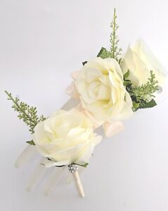 Wrist-Corsage-and-Boutonniere-Set-Ivory-Roses-with-Greenery-Prom-Wedding-Etc