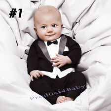 New Baby Boy Formal Tuxedo Suit Style One-Piece Romper Size newborn to 36 months