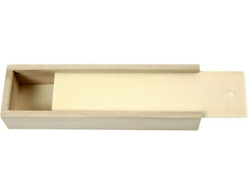 20cm Light Wooden Pencil Box with Sliding Lid to Decorate for Crafts