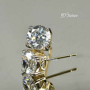 18K-YELLOW-WHITE-GOLD-GF-STUD-MADE-WITH-SWAROVSKI-CRYSTAL-EARRINGS-5MM