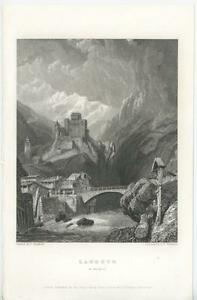 ANTIQUE-LANDECK-TYROL-INN-RIVER-BRIDGE-CASTLE-VILLAGE-MOUNTAINS-ENGRAVING-PRINT