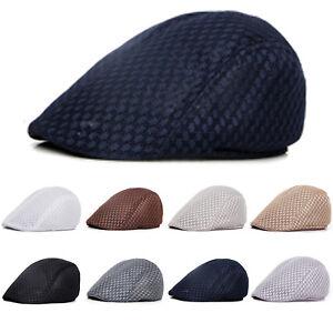 18b2d4f3 Summer Men's Breathable Mesh Beret Newsboy Hats Ivy Cap Cabbie Flat ...