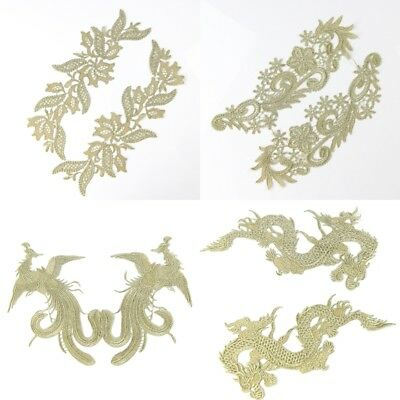 1 Pair Lace Appliques Flowers Dragon Phoenix Trims Embroidery Sewing Crafts DIY