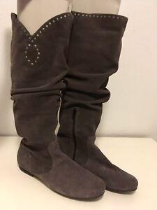 2019 authentisch kaufen beste Schuhe Details zu Stiefel Damen grau mit Nieten flacher Absatz, Gr. 38, TOP