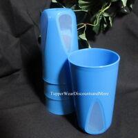 Tupperware Set Of 4 Blue Clear Impressions Tumblers 16 Oz Rare