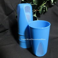 Tupperware Set Of 4 Blue Clear Impressions Tumblers 16 Oz Rare