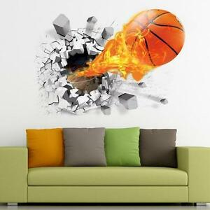 Image Is Loading 3D Basketball Football Soccar Wall Stickers Removable  Bedroom