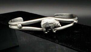 Carol-Felley-Sterling-Silver-Cuff-Bracelet-Grizzly-Bear-RARE-Vintage